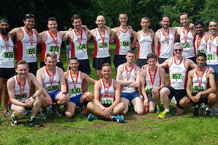 London Frontrunner group shot with medals