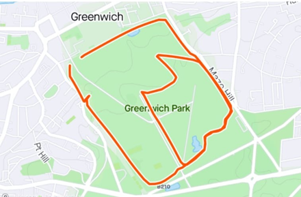 Greenwich park map showing long route