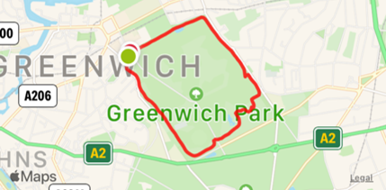 Greenwich park map showing short route